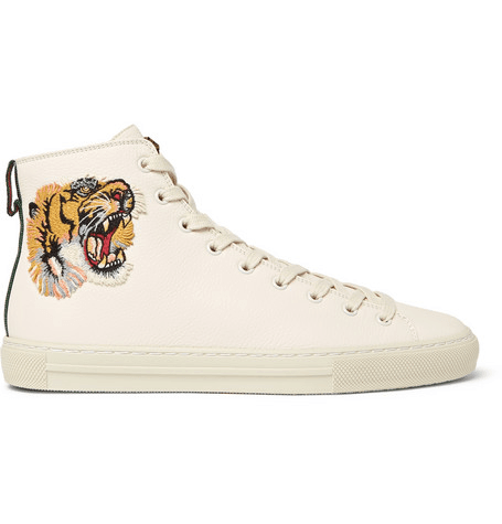 3e9bf7b98 Gucci | Major Appliquéd Full-grain Leather High-top Sneakers | Cream ...