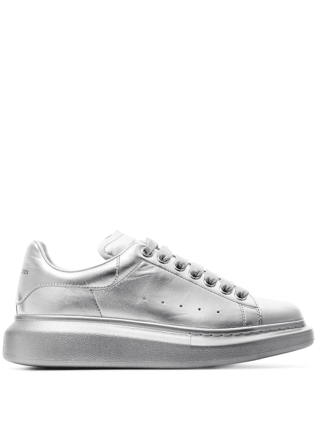 cbdb49dd6f50 Alexander McQueen silver chunky low-top leather sneakers ...