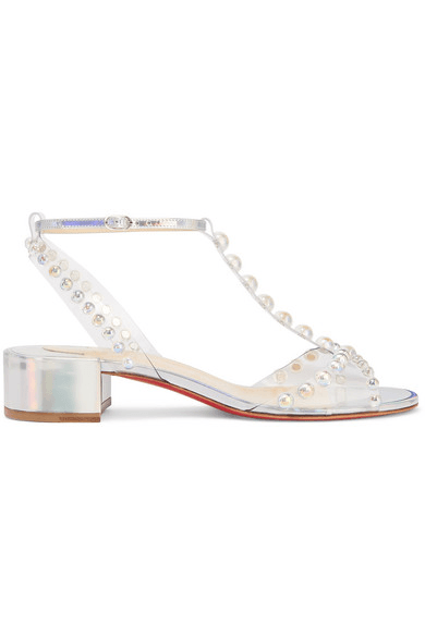 db88b10d121 Christian Louboutin - Faridaravie 25 Embellished Pvc And Iridescent Leather  Sandals - Silver