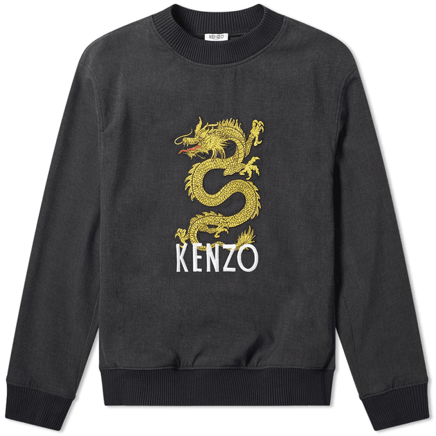 62a05917 Kenzo Woven Dragon Embroidered Crew Sweat Charcoal | MILANSTYLE.COM