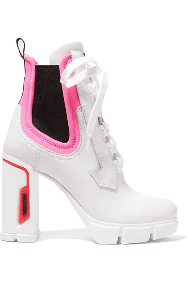 68b3c601f479 Prada | Logo-embossed Rubber And Neoprene-trimmed Leather Ankle ...
