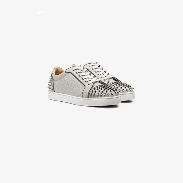 27d62a44a63 Christian Louboutin grey Seavaste 2 Orlato spike-embellished low-top  leather sneakers