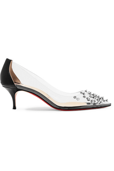 6422b889229 Christian Louboutin | Collaclou 55 Spiked Pvc And Patent-leather ...