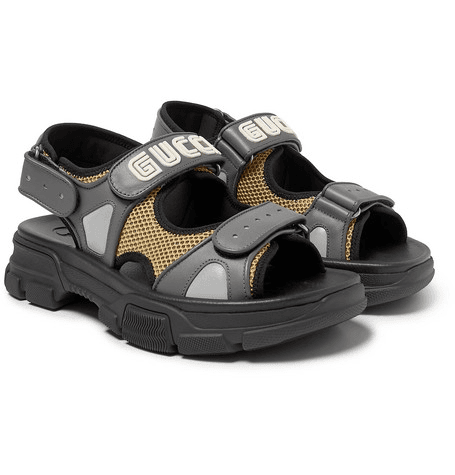 6b54bf4baf4 Gucci - Leather And Mesh Sandals - Black