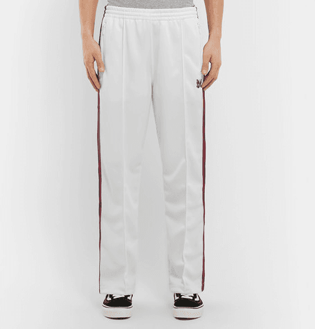 635b2131 Needles | Embroidered Striped Satin-jersey Track Pants | White ...