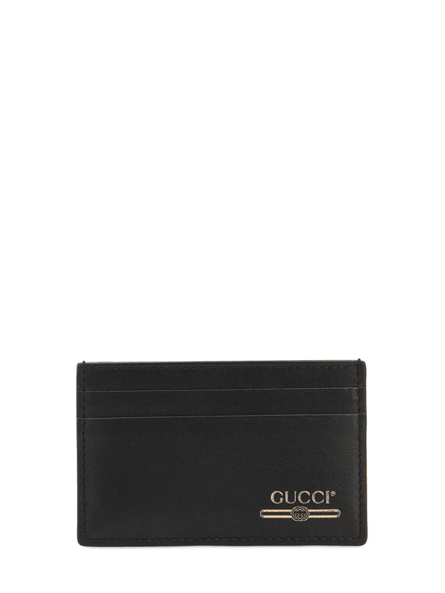 ffc26856a49 Gold Logo Printed Leather Card Holder