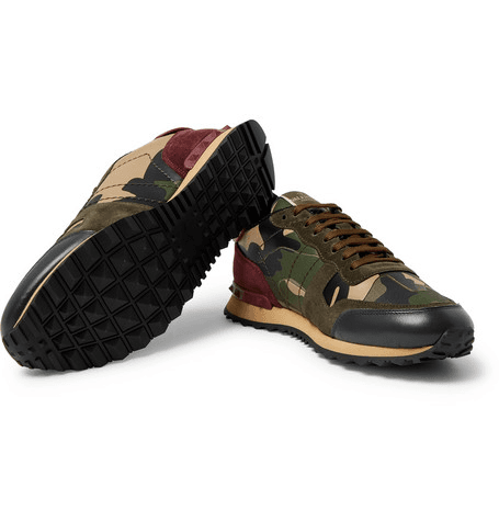 c0ea4e0c56434 Valentino - Valentino Garavani Rockrunner Camouflage-print Canvas, Leather  And Suede Sneakers - Green