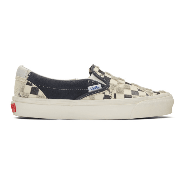 Vans Off White and Black Bricolage Classic Slip On Sneakers