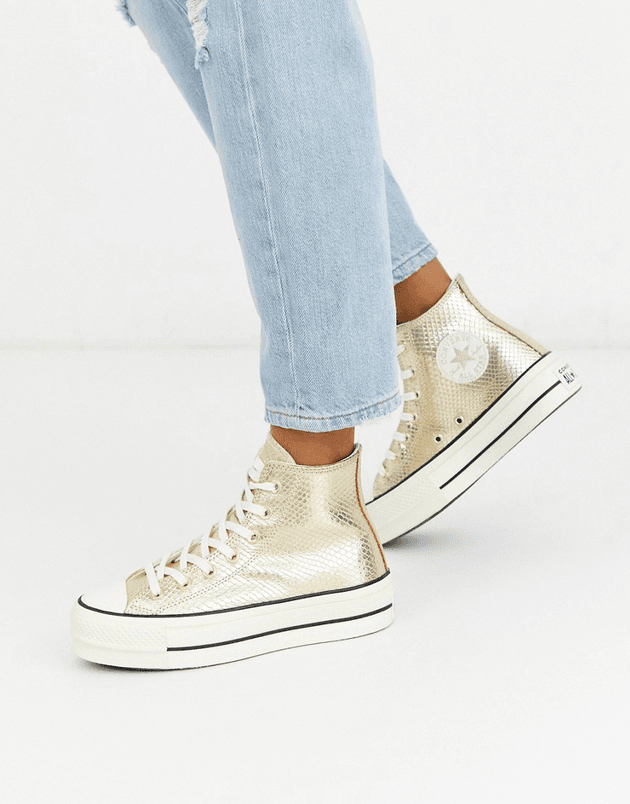 quality hot product quite nice Converse Chuck Taylor Hi platform gold snake trainers | MILANSTYLE.COM