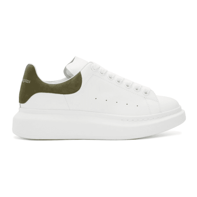 Alexander McQueen White and Khaki Oversized Sneakers