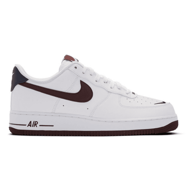 Nike White and Burgundy Air Force 1 07 LV8 4 Sneakers