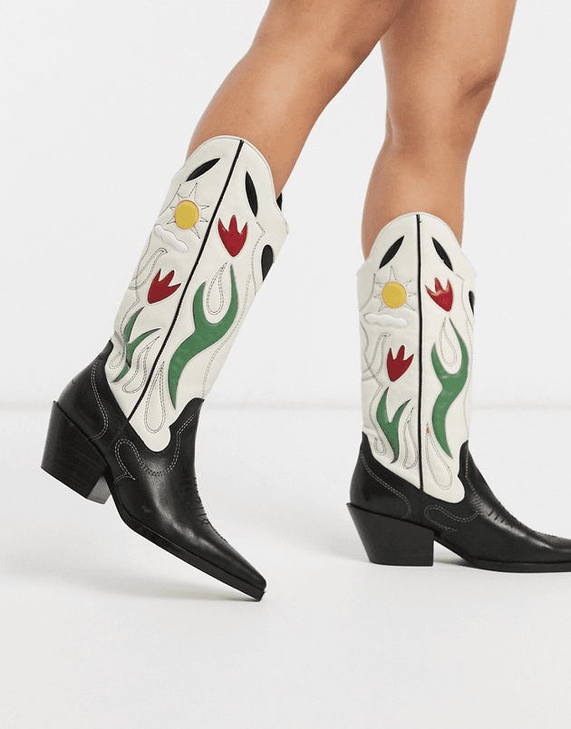 Mango ultimate leather cowboy boots in
